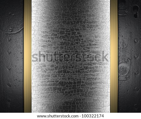template metal plate with a gold wood stripe - stock photo