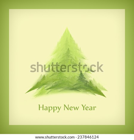 Template of a square New Year's card with a Christmas tree in a green frame. Raster - stock photo