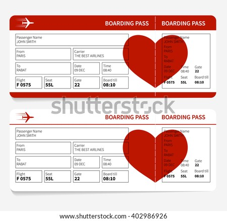 Template Airline Boarding Pass Tickets Heart Stock Illustration