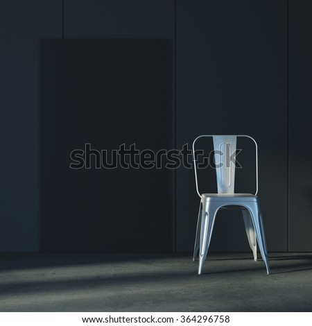 Template of black canvas with chair. Loft mockup, empty and minimalistic interior. 3d rendering - stock photo