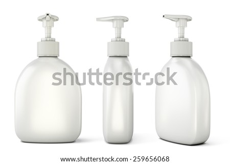 Template of bottles with liquid soap for your design. Set of bottles with liquid soap from different types. 3d illustration. - stock photo