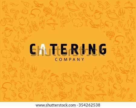 Template of catering company logo. Logo design collection. Catering, outdoor events and restaurant service insignia, food icons. Hand drawn elements. - stock photo