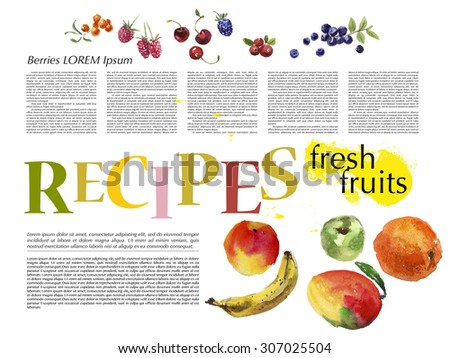 Template of magazine article recipe design with bright watercolor illustrations of fresh fruits. - stock photo