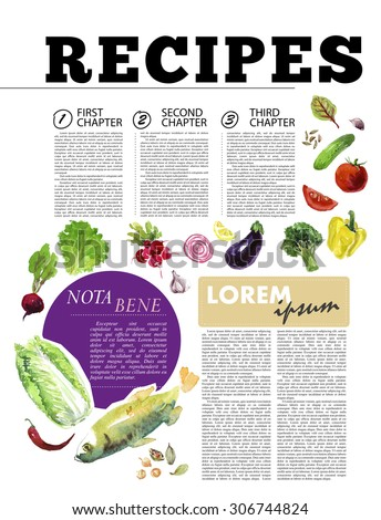 Template of magazine article recipe design with bright watercolor illustrations of fresh vegetables. - stock photo