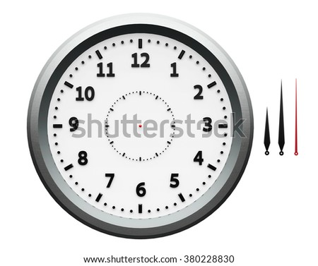 Template of metal clock with numerals and arrows isolated on a white, three-dimensional rendering