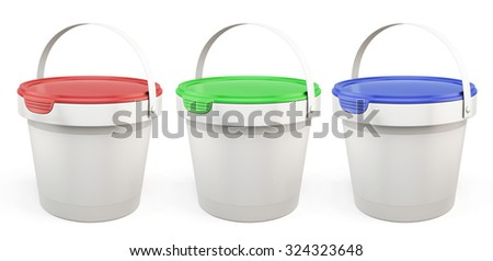 Template plastic buckets with lids various colors isolated on white background. 3d illustration. - stock photo