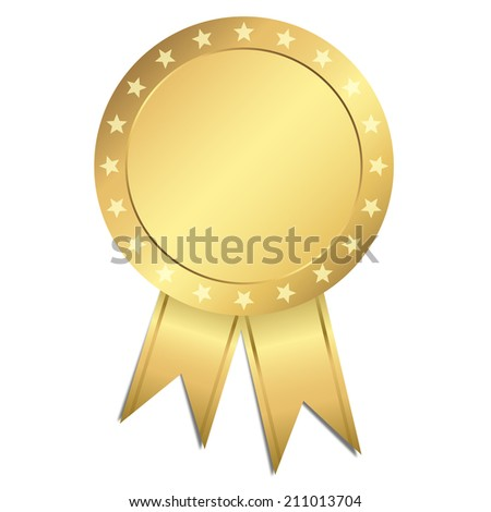 Template Seal - gold with stars - stock photo