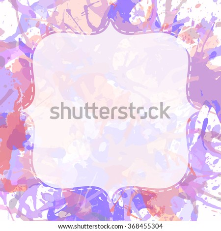 Template with semi-transparent white vintage frame over pastel colored artistic paint splashes, ready for your text. - stock photo