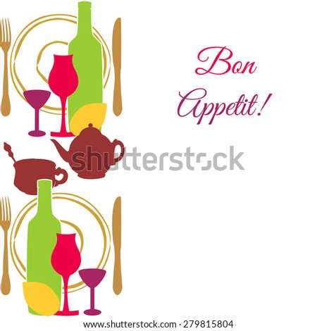 Template with tea utensils,cutlery and wine glasses isolated on white background - stock photo