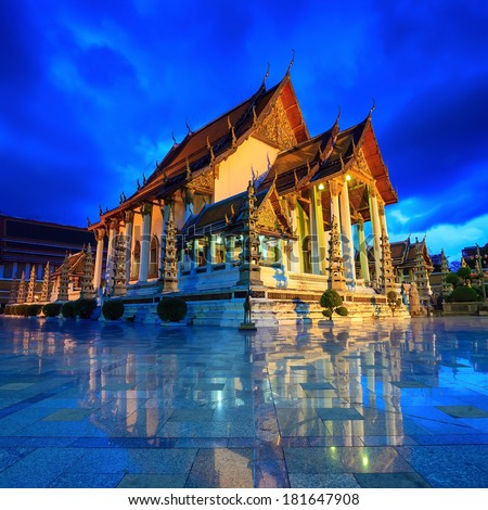 Temple at twilight, Suthat Temple, Bangkok, Thailand - stock photo