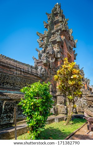Temple Bali with blue sky - Indonesia - stock photo