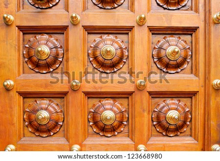 temple bells in india temple - stock photo