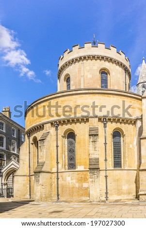 Temple Church was originally the precinct of the Knights Templar whose Temple Church was named in honor of Solomon's Temple in Jerusalem. London, England