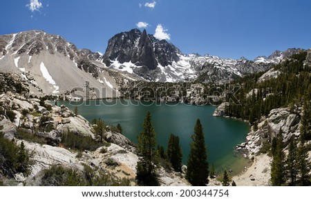 Temple Crag above Second Lake in the north Big Pine Creek drainage near the Palisades of the Sierra Nevada Mountains - stock photo