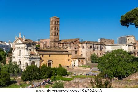 Temple de Venus et de Rome - Rome, Italy - stock photo