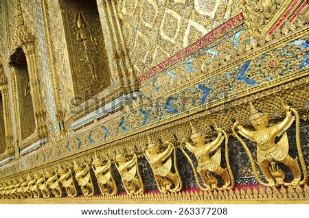 temple decoration in grand palace of bangkok thailand - stock photo