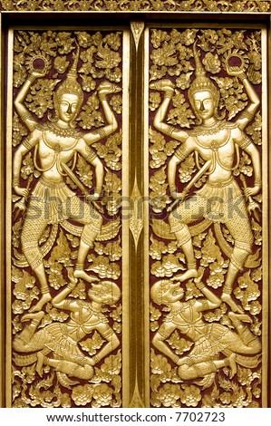 temple door decorations - stock photo