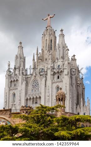 Temple Expiatori del Sagrat Cor   in Barcelona, Spain - stock photo