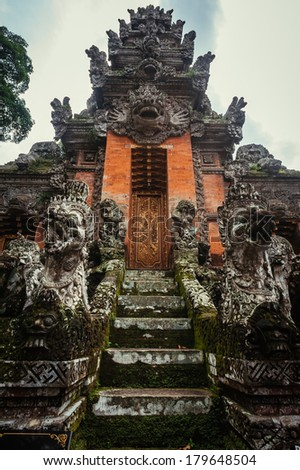 Temple in Sacred Monkey Forest, Ubud, Bali, Indonesia - stock photo