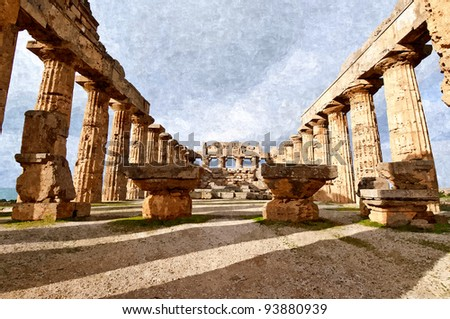 Temple in the archaeological site of Selinunte in Sicily - stock photo