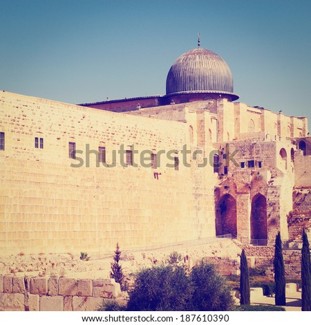 Temple Mount and Jerusalem Archaeological Park, Instagram Effect - stock photo