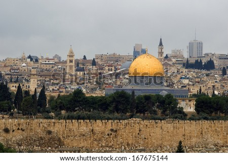 Temple Mount from Mount of Olives, Jerusalem, Israel - stock photo