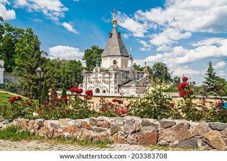 Temple near far caves of Kyiv-Pechersk Lavra, Kyiv, Ukraine - stock photo