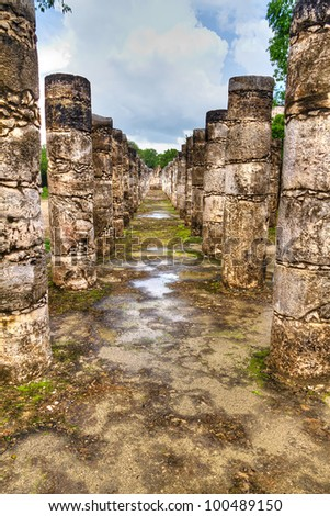Temple of a Thousand Warriors in Chichen Itza, Mexico - stock photo