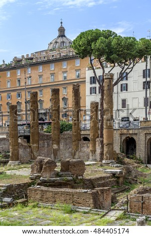 Temple of Aedes Fortunae Huiusce Diei, temple of fortune of the present day, built in 101 b.C. and now visible in the middle of the sacred area of Largo di Torre Argentina in Rome.