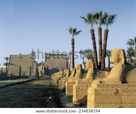 Temple of Amon - Ra, QUENA, Luksor, Thebes, Temple of Amon - Ra, Sphinx Avenue and pylon of Ramesses II,