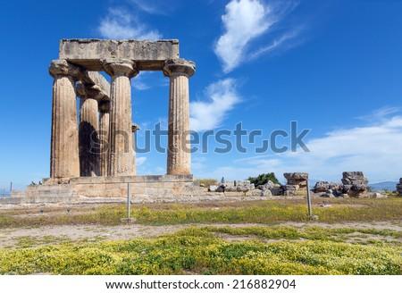 Temple of Apollo, Ancient Corinth, Greece  - stock photo