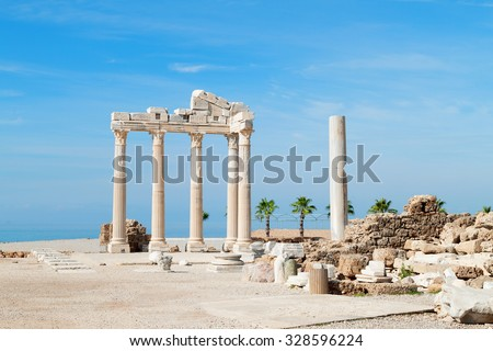 Temple of Apollo ancient ruins, Turkey. - stock photo