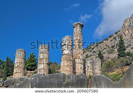 Temple of Apollo at Delphi oracle archaeological site in Greece - stock photo
