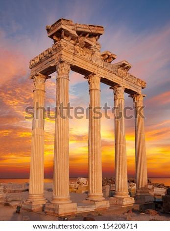 temple of apollo , side Turkey - stock photo