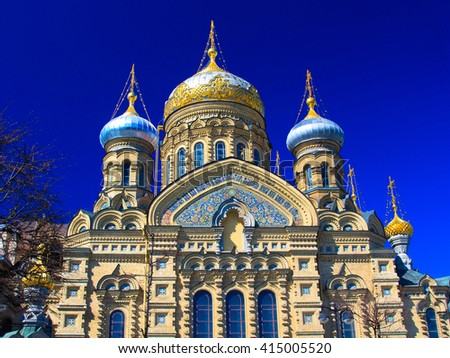 Temple of Assumption on Leytenanta Shmidta Emb. Saint-Petersburg, Russia.