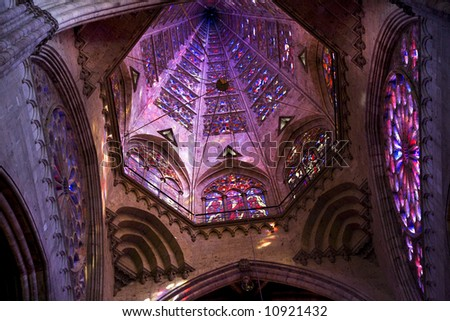 Temple of Atonement, Templo Expiatorio, Guadalajara, Mexico.  Inside and close up of dome and stained glass windows - stock photo