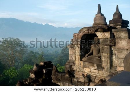 Temple of Borobudur in Indonesia.  - stock photo