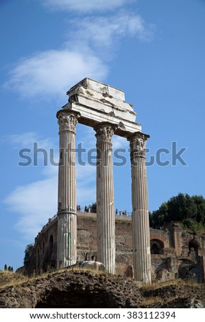 Temple of Castor and Pollux at The Roman Forum (Forum Romanum), Rome, Italy.
