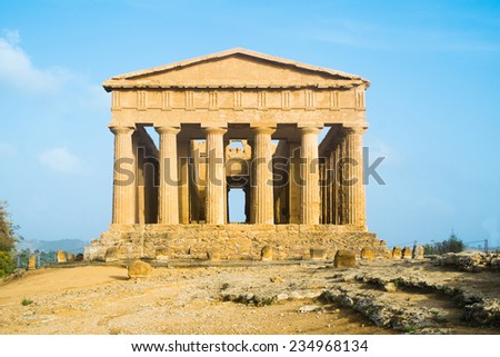 Temple of Concord in Agrigento Valle dei Templi, Sicily, Italy - stock photo