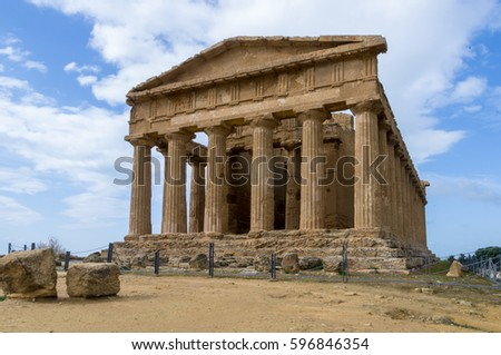 Temple of concord site in the Valley of Temples, Agrigento