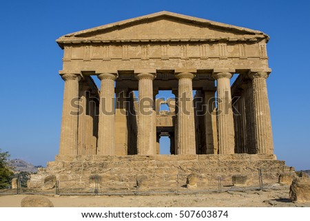 Temple of Concordia, a Greek temple in the Temple Valley (Valle dei Templi) in Agrigento, Sicily, Italy