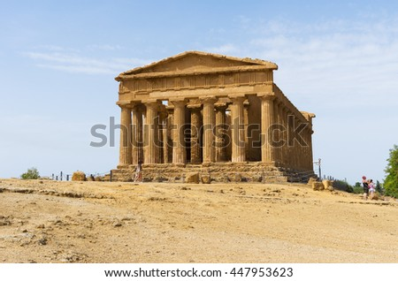 Temple of Concordia in the 'Valley of the Temples' in Agrigento, Italy. This landmark is a UNESCO World Heritage Site.