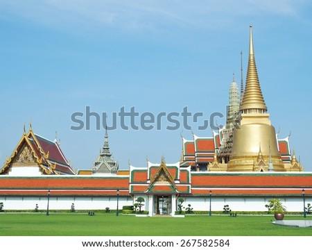 Temple of Emerald Buddha (Wat Phra Kaew) at Grand Palace in Bangkok, Thailand. - stock photo