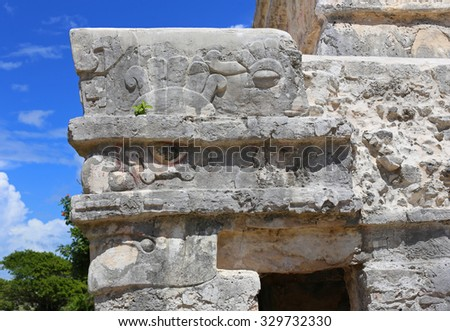 Temple of Frescoes in Tulum, Riviera Maya, Mexico - stock photo