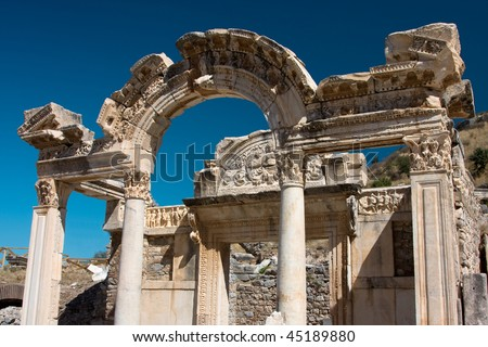 Temple of Hadrian, Ephesus, Turkey - stock photo