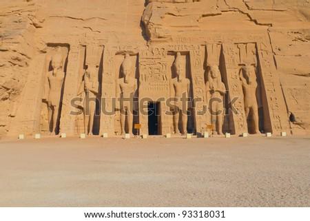 Temple of Hathor, dedicated to the wife of Ramses II, wife Nefertari. - stock photo