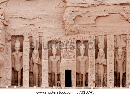 Temple of Hathor, dedicated to the wife of Ramses II, wife Nefertari.  Built in 1274-1244 BC. .  The temples were moved in 1964-1968 to the present site to prevent them being innundated by Lake Nasser - stock photo