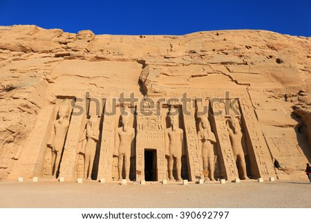 Temple of Hathour built by  Ramses II dedicated to his wife, Nerfertari, Abu Simbel in Egypt