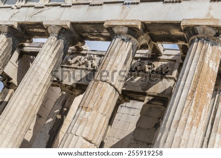 Temple of Hephaestus Column detail of the magnificent Greek temple is in the Agora area within the Acropolis ruins - stock photo