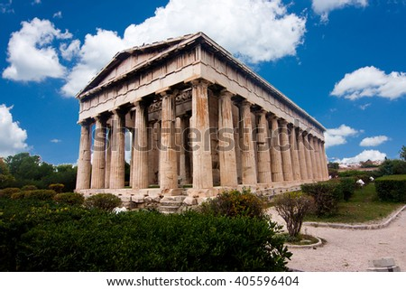 Temple of Hephaestus in Ancient Agora, Athens, Greece - stock photo